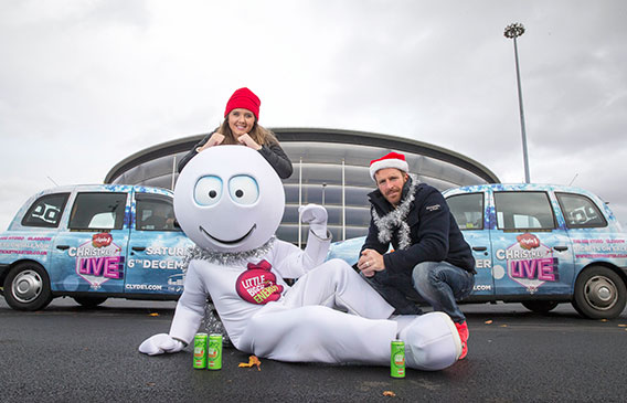 Clyde 1 DJ's George Bowie and Cassie Galloway. Little Big Shot energy's mascot Little Big Shot is also pictured.