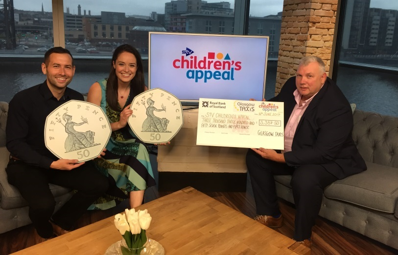 Glasgow Taxis Ltd Chairman with Stephen Flynn with Jennifer Reoch and David Farrell, STV2 Live at Five Presenters